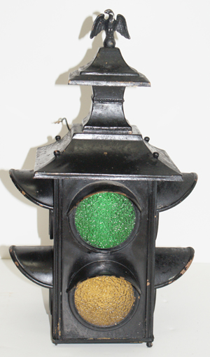 DescriptionUnique vintage exterior wall mount fixture with eagle finial crafted from an old traffic light. MaterialMetal glass & The Demolition Depot | The Finest in Architectural Ornaments